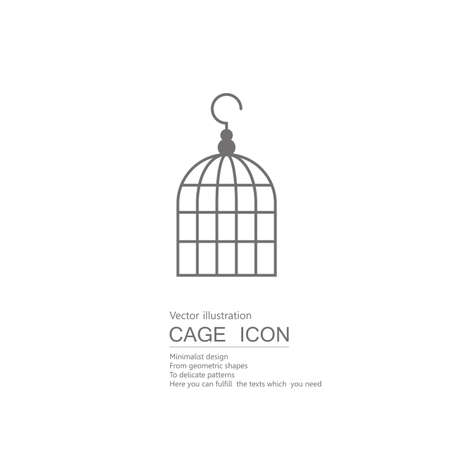 Vector drawn bird cage. Isolated on white background.