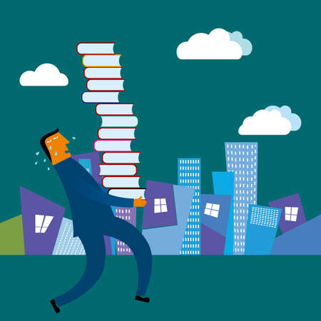 Businessman carrying a lot of books. The background is a city building.