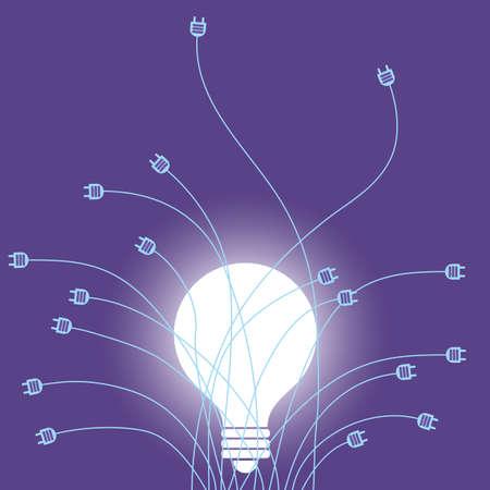 Light bulb and plug. Isolated on purple background. Illustration