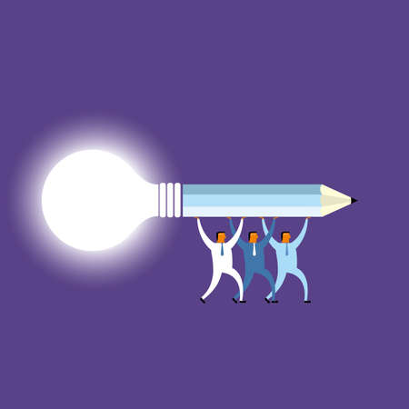 Businessman holds up pencil and light bulb. Isolated on purple background. Standard-Bild - 131197532