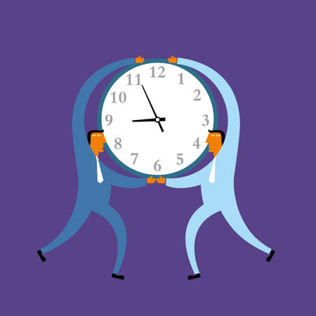 Two businessmen carry the clock. Isolated on purple background. Standard-Bild - 131197534