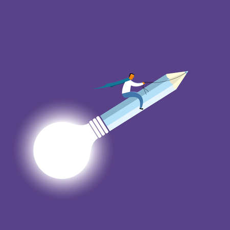 Businessman riding on pencil and light bulb. Isolated on purple background. Standard-Bild - 131197541