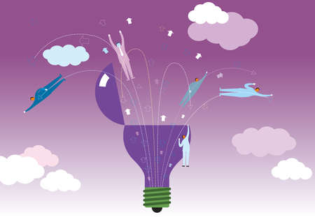 Businessman flies out of the light bulb. The background is purple.