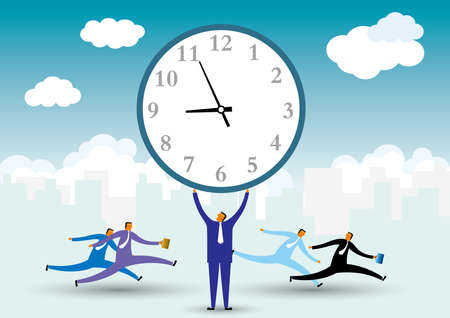 Businessman holds up the clock. There are many people running in the background. Standard-Bild - 131276498