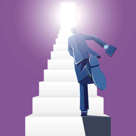 Businessman runs on the stairs. The background is purple. Standard-Bild - 131276507