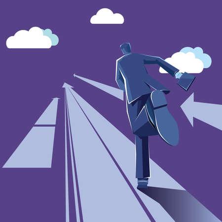 Businessman runs on the arrow. The background is purple.