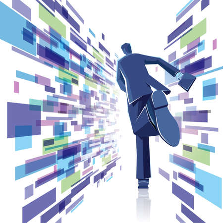 Businessman runs in an abstract background. Abstract composition.