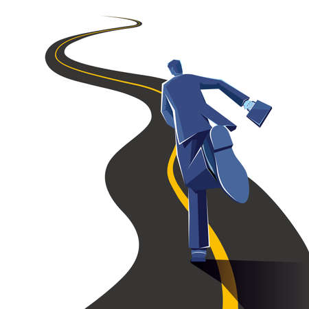Businessman is running on the road. The background is purple. Illustration