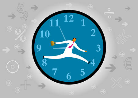 Businessman racing against time.isolated on grey background. Standard-Bild - 131276555