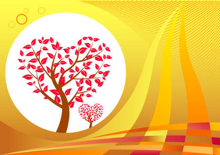 Heart shaped tree. Abstract background design. Illustration