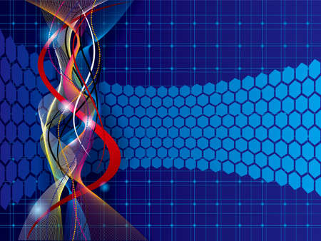 Abstract background design. Honeycomb shapes and twisted lines. Standard-Bild - 131276808