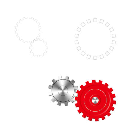 Vector drawn gears. Isolated on white background. Illustration