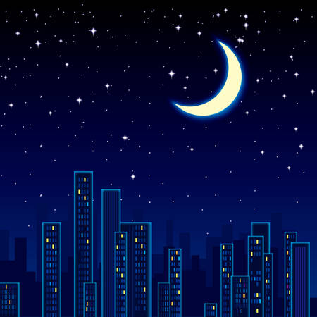 Night city view. The stars and the moon are in the sky. Illustration
