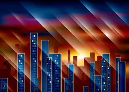 City scenery under the sunset. The picture has some decorative twill designs.