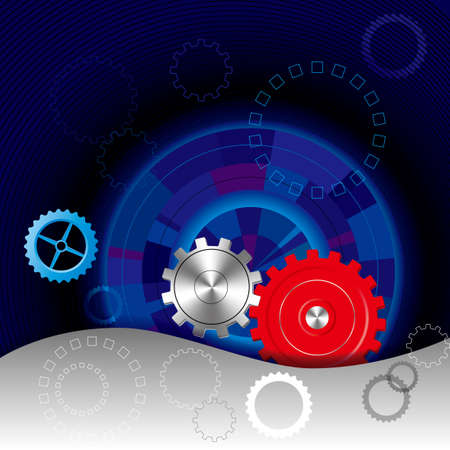 Vector drawn gears. Isolated on black background. Illustration
