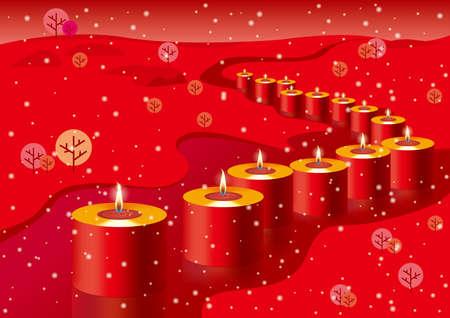 Burning candles. Holiday decorations, festival celebrations. Illustration
