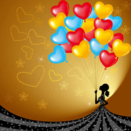 The girl carry lot of balloons. Holiday decorations, festivals. Standard-Bild - 131417583