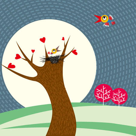 Two birds are flirting. The bird's nest is on the tree.