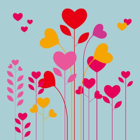 drawn heart shaped flower. Isolated on blue background. Illustration