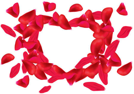 A heart-shaped frame formed by rose petals. Isolated on white background.