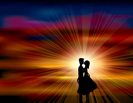 A pair of lovers kissed in the sunset.The background uses the mesh gradient tool.
