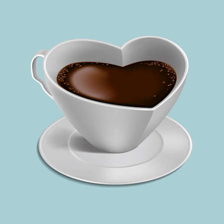 drawn heart shaped coffee. Isolated on white background.