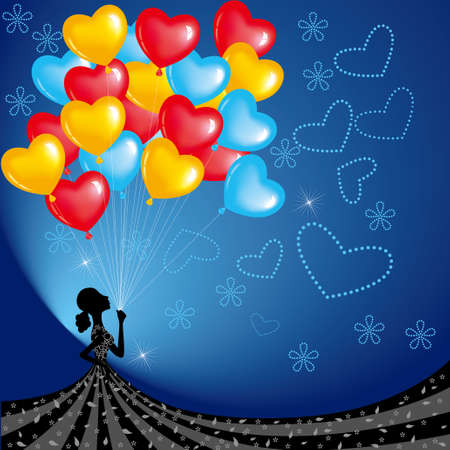 The girl carry lot of balloons. Holiday decorations, festivals. Illustration