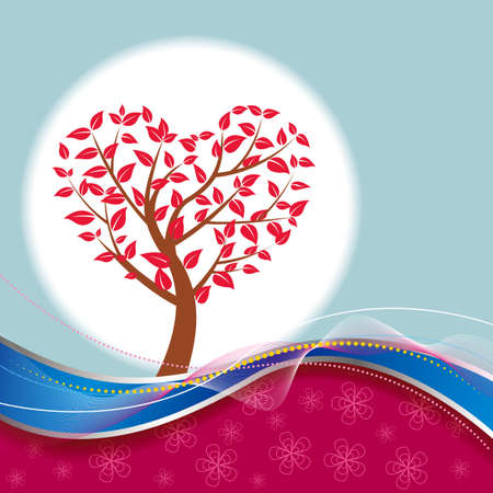 Heart shaped tree. Abstract background design. 矢量图像