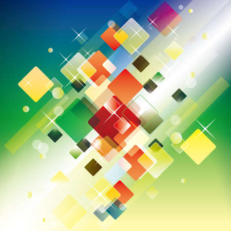 Abstract background design made up of many multi-colored squares.