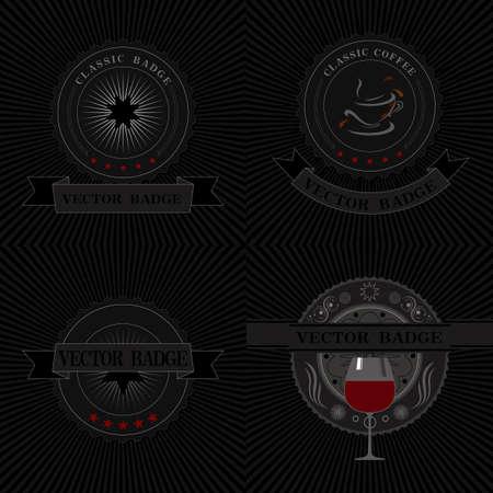 badges on black background.