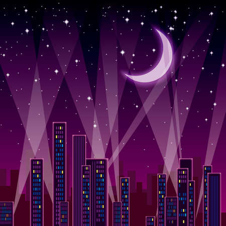 Charming night. The city buildings are under the moonlight.