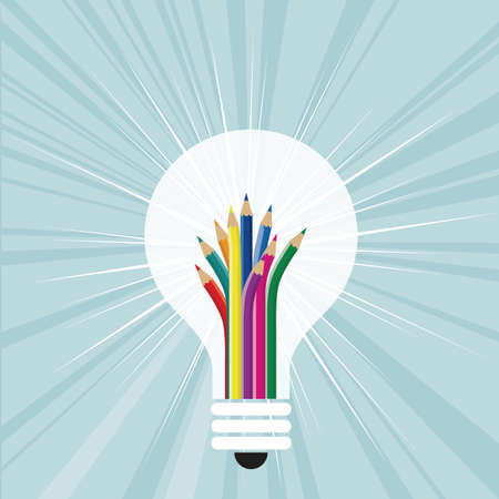 Plant idea.pencil in the light bulb. The background is blue.