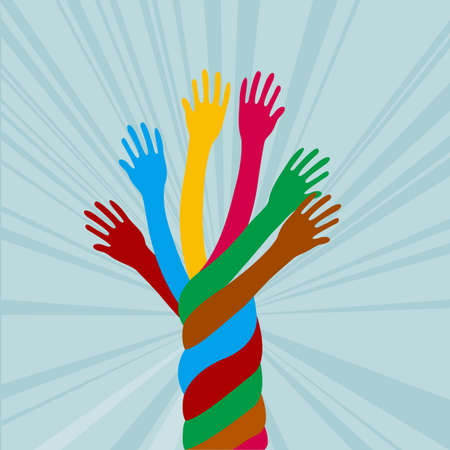 Colorful hand design. Isolated on blue background.