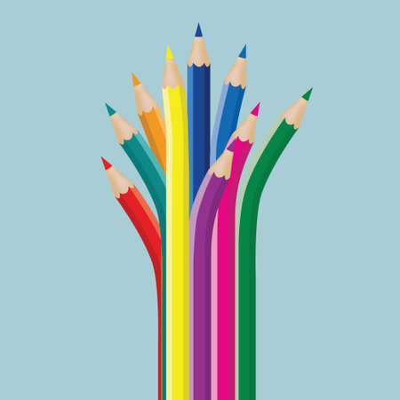 The creativity of the pencil isolated on blue background.
