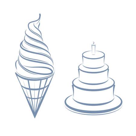 ice cream and cakes isolated on white background.