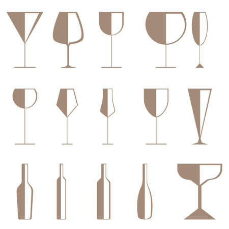 champagne and wine glasses isolated on white background.