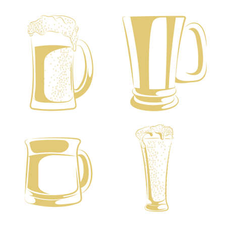 beer mug isolated on white background. Illustration