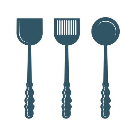 kitchen utensils isolated on white background.