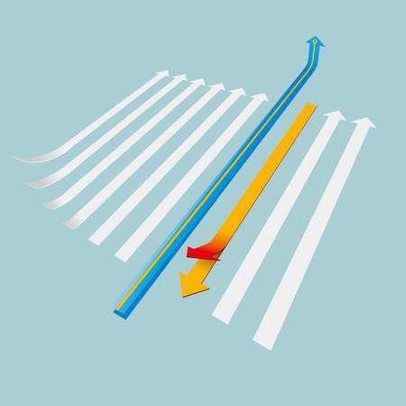 Creative design of the arrow. Isolated on blue background. Illustration
