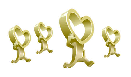 heart shaped people isolated on white background.