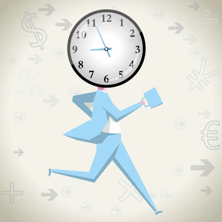 Businessman racing against time.isolated on grey background.