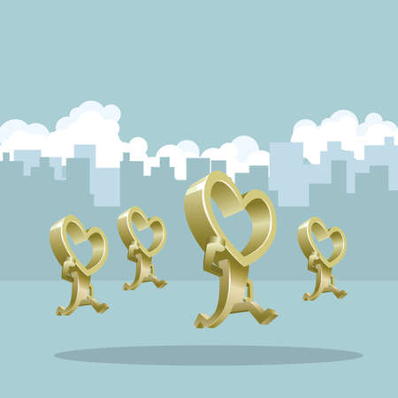 heart shaped people. The background is a city building.