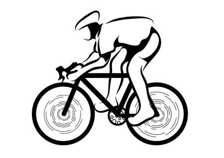 cycling athletes isolated on white background. Illustration