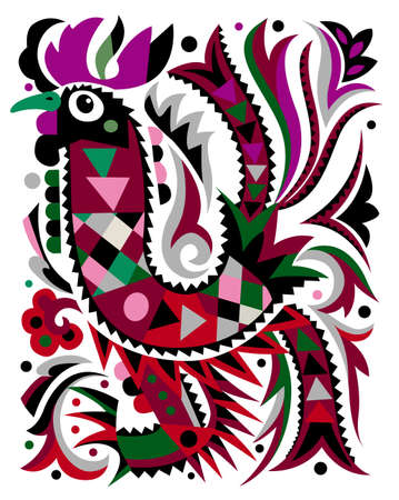 rooster pattern isolated on white background.