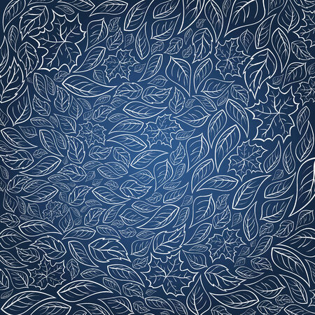 A dark blue background with white leaves Illustration
