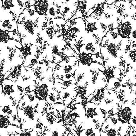 Floral pattern texture seamless background | Fabric with a small figures of leaves and birds Illustration