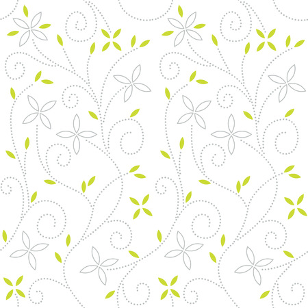 Swirl seamless pattern with leaves and flowers on a white background