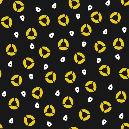 Yellow and white circle shapes on the black background