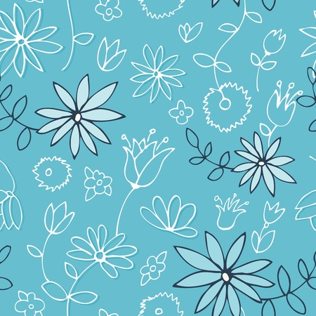 Seamless vector pattern with flowers and leaves on a fresh marine blue Stock Vector - 11995062