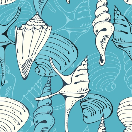 Seamless blue marine pattern with shells on a blue